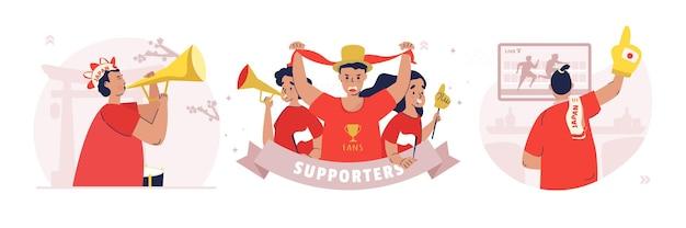 Набор иллюстраций спортивных игр сторонников болельщиков