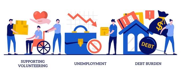 작은 사람들과 함께 자원 봉사, 실업, 부채 부담 개념을 지원합니다. 사회 경제적 발발 영향 벡터 일러스트 레이 션 세트. 공중 보건, 경제 위기, 실업률 은유.
