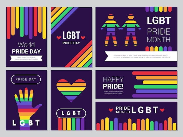 Supportive lgbt set. colored rainbow banners for lgbt peoples events  illustrations.