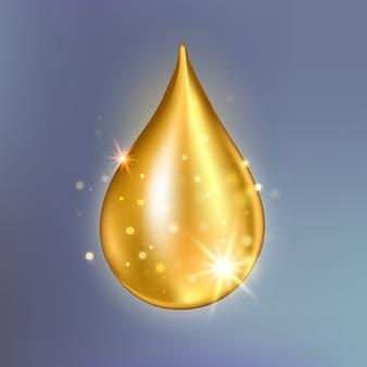 最高のコラーゲンオイルドロップエッセンス。プレミアムゴールドの輝く血清の液滴。