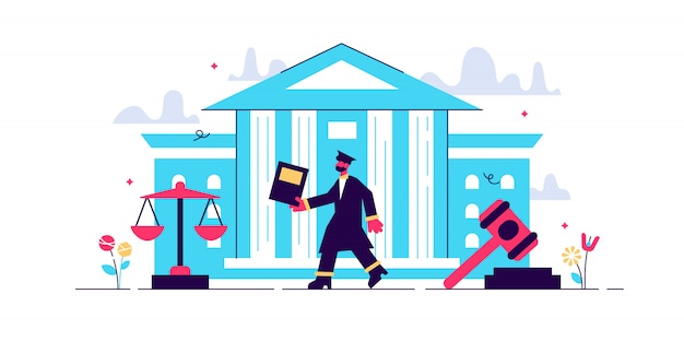 Supreme court illustration. flat tiny judge building persons concept. power, justice and federal authority symbol. lawyer profession knowledge study and graduation. crime courthouse advocate.