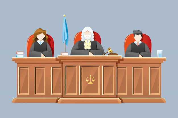 Supreme court with judges illustration