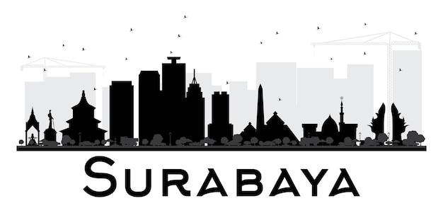 スラバヤ市のスカイラインの黒と白のシルエット。ベクトルイラスト。観光プレゼンテーション、バナー、プラカードまたはwebサイトのシンプルなフラットコンセプト。ランドマークのある街並み。