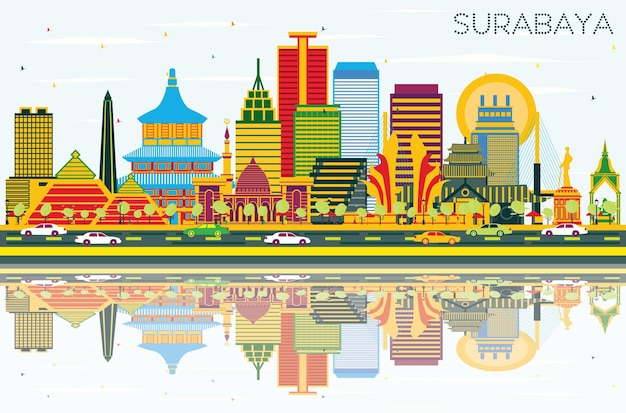 Surabaya indonesia skyline with color buildings, blue sky and reflections. vector illustration. business travel and tourism concept with modern architecture. surabaya cityscape with landmarks.
