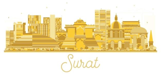 Золотой силуэт горизонта города сурат индии. векторная иллюстрация. простая плоская концепция для туристической презентации, баннера, плаката или веб-сайта. городской пейзаж с достопримечательностями.