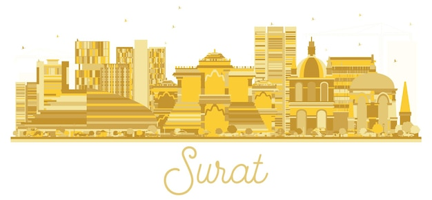 Surat india city skyline golden silhouette. vector illustration. simple flat concept for tourism presentation, banner, placard or web site. cityscape with landmarks.