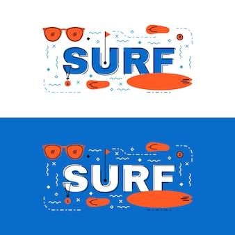 Серфинг-баннер, надпись с надписью на плоской линии с иконками