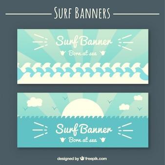 Banner surf in stile piatto