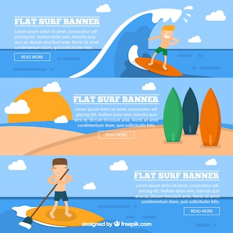 Surf banners set with nice surfers
