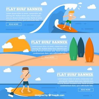Surf баннеры с красивыми серферов