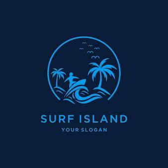 モノクロカラーデザインのサーフビーチのロゴ