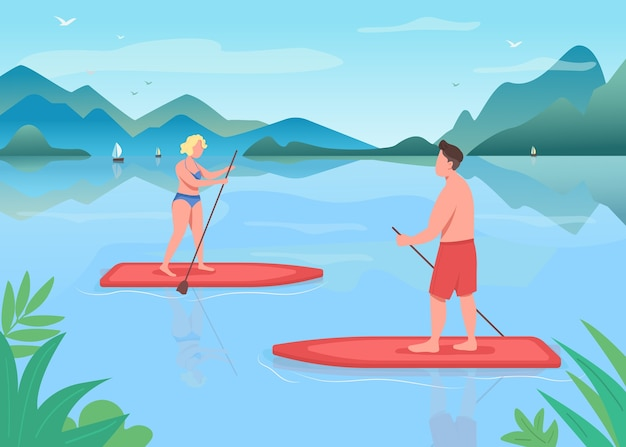 Surf boarding flat color illustration. active lifestyle. paddleboarding training. water sport. standup paddleboarding. athlete 2d cartoon characters with landscape on background