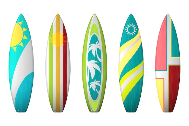 서핑 보드 디자인. 서핑 보드 색칠 세트.