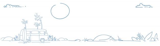 サーフバスサンセットトロピカルビーチレトロサーフィンビンテージ夏休暇グリーティングカード水平パノラマバナー