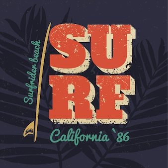 Surf california typography poster