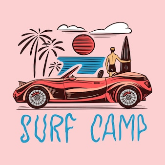 Surf camp badge, vintage surfer logo.