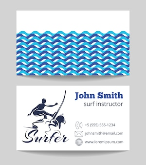 Surf instructor business card both sides template