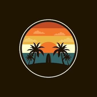 Surf logo design on a tropical beach,   illustration