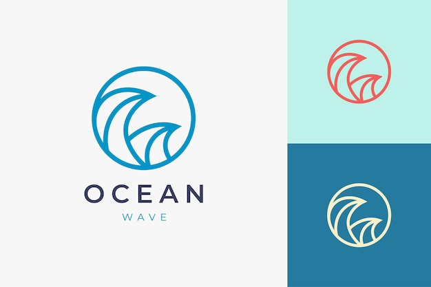 원형 바다 물결 모양의 서핑 또는 해변 로고 템플릿