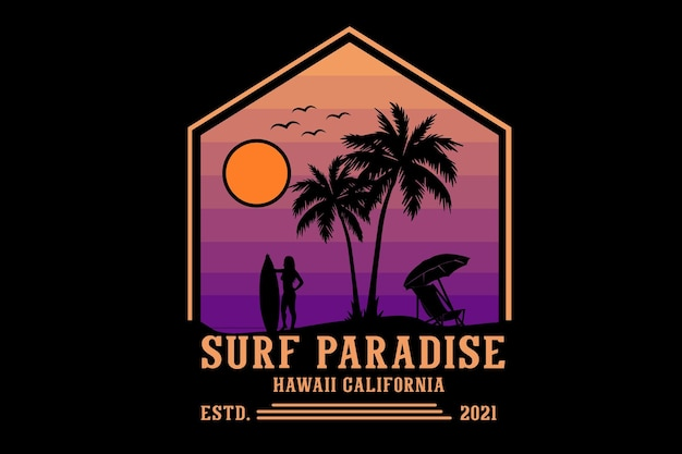 Surf paradise hawaii california silhouette design retro style