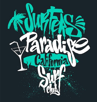 Surf paradise lettering, t-shirt graphics,  illustration