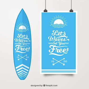 Surf poster with surfboard