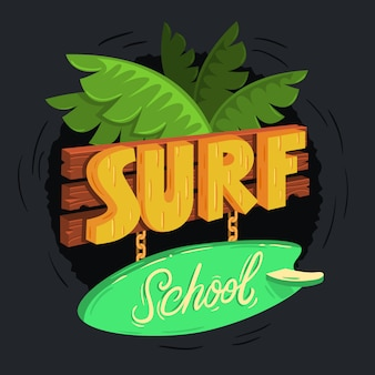 Surf school cartooned wooden 3d sign design with tropical leaves