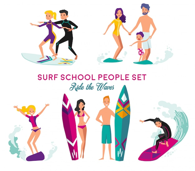 Surf school decorative elements set
