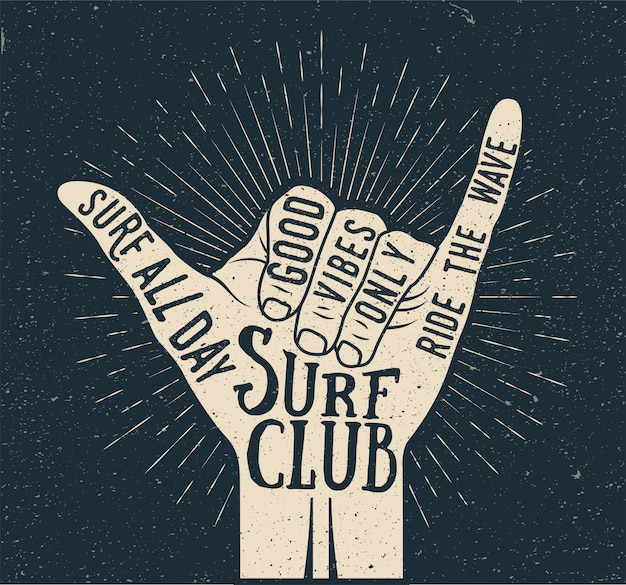 Surf shaka hand gesture silhouette on dark background. summer time surfing themed vintage styled  illustration
