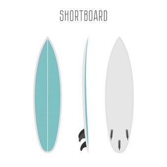 3つの側面図の短いボードをサーフィンします。