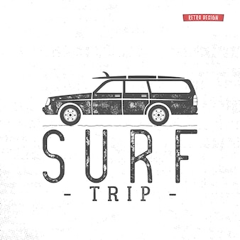 Surf trip concept vector summer surfing retro badge