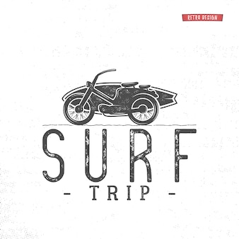 Surf trip logo. vintage summer surfing emblem label