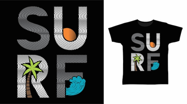 Surf typography for tee design