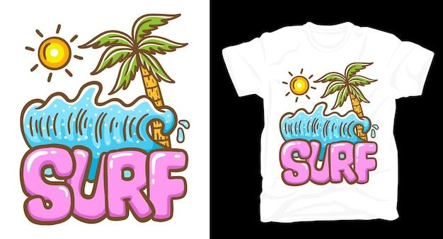 Типография для серфинга с волнистой ладонью и дизайном футболки с изображением солнца