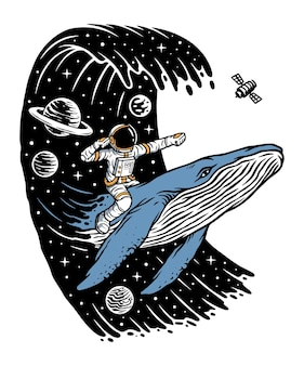 Surf in the universe with whales illustration