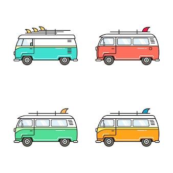 Surf van design illustrations