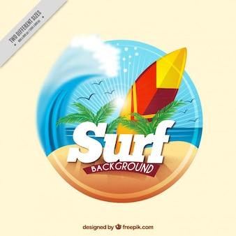 Surf фон с доской для серфинга на пляже
