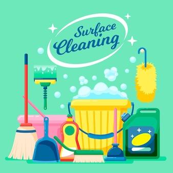 Illustrazione delle attrezzature per la pulizia delle superfici