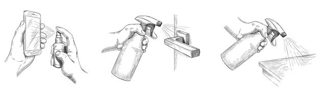 표면 청소 스케치. 소독제 스프레이로 집 표면과 문 손잡이를 소독하십시오. 손에는 스프레이와 깨끗한 전화 화면, 벡터 세트가 있습니다. 스케치 위생 및 예방 소독 그림