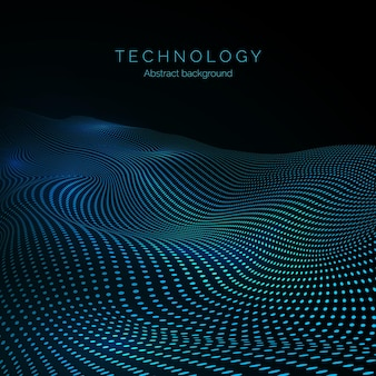 Surface of digital wave. data flow. abstract digital wave of particles