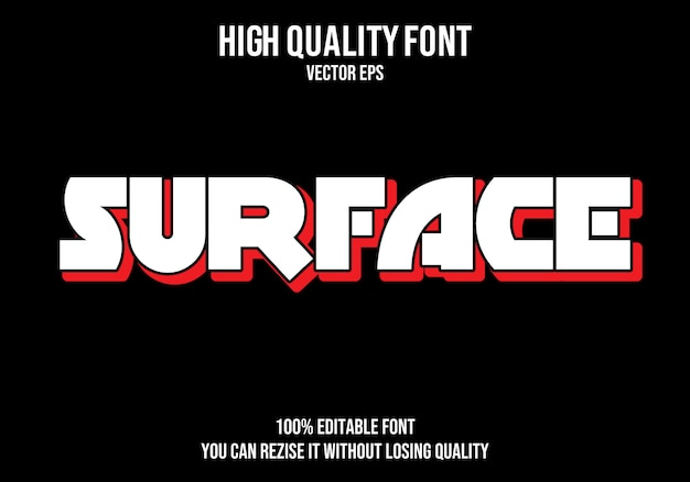 Surface editable text effect
