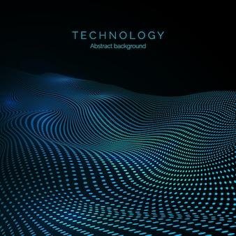디지털 웨이브의 표면. 데이터 흐름. 입자의 추상 디지털 물결