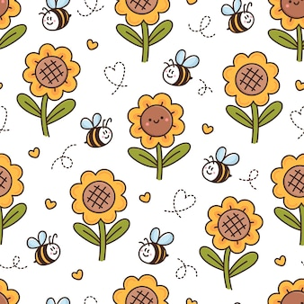 Surface pattern design with cute kawaii sunflowers bees hearts in cartoon style