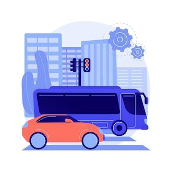 Иллюстрация вектора концепции абстрактного наземного транспорта. автомобильный транспорт, движение грузовых людей, автомобильный или железнодорожный транспорт, грузовик на шоссе, круговое движение, быстрое вождение автомобиля, абстрактная метафора автобусной остановки.