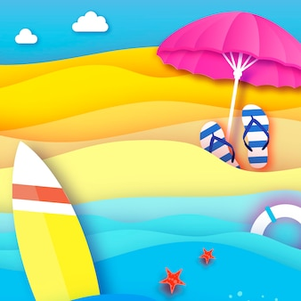 Surfboard pink parasol  umbrella in paper cut style origami sea and beach with lifebuoy sport ball game flipflops shoes vacation and travel concept square frame space for text summertime
