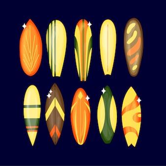 Доска для серфинга - набор 1 - иллюстрации, изолированные на белом фоне.