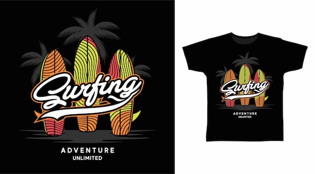 Surfboard surfing typography tshirt design