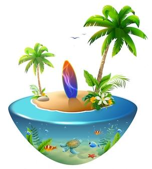 Surfboard on tropical island