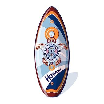カメからのパターンを持つサーフボード