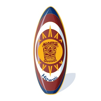 Surfboard with a hawaiian pattern